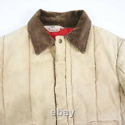 Destroyed Vtg Ribbed Quilt Insulated Jacket Sun Faded Distress Workwear M/L