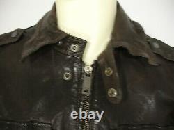 Diesel Brown Distressed Vintaged Sheepskin Leather Zip Front Jacket Men's L