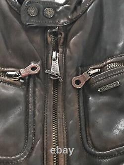Diesel Distressed Leather Jacket Brown Large
