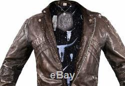 Diesel LUMI LEATHER JACKET mens coat biker distressed VINTAGE SKULL BULL XL XXL