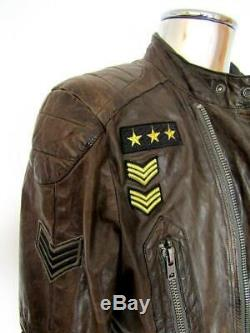 Diesel Lambskin Patches Leather Jacket RRP £875 EU50 Large Distressed Brown