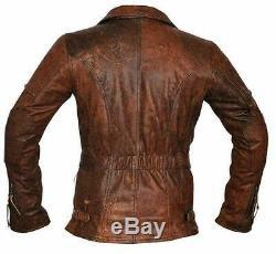 Distressed Brown 3/4 Long Coat Biker Cafe Racer Mens Leather Jacket Sheepskin
