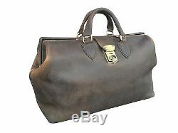 Distressed Brown Leather Gladstone Doctor Bag Carry Case Duffle Carrier