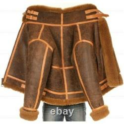 Distressed Faux Shearling Genuine Real Leather Jacket Hot Selling Leather Jacket