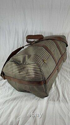 Distressed POLO RALPH LAUREN Houndstooth Boston Brown Leather Trim and Canvas