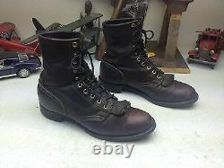 Distressed Pdt USA Oxblood Leather Lace Up Western Granny Kiltie Westernboots 9m