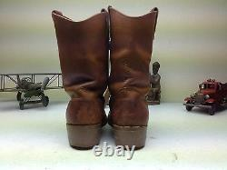 Distressed USA Double H Engineer Work Brown Leather Motorcycle Boot Size 12 D