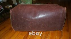 Distressed Vintage GOKEY orvis Duffle Bag Canvas Brown Leather Hunting Travel