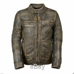Distressed Wax Men's Biker Racer Vintage Style Motorcycle Leather Jacket