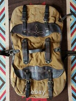 Double RL RRL Ralph Lauren Distresse Leather Canvas Messenger Bicycle Saddle Bag