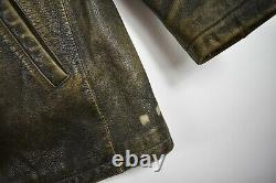 Eddie Bauer Brown 100% Genuine Leather Distressed Bomber Jacket Mens Coat Sz M