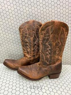 El Dorado Distressed Brown Leather Square Toe Western Boots Mens Size 10 D