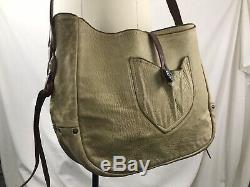 Extremely RARE RRL Bihlmaier Bag Distressed Tan Leather Rare Made In Italy