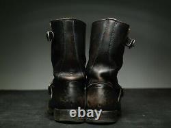 FRYE Distressed Engineer BIKER Motorcycle Boots 41 uk7 us8 brown Black leather