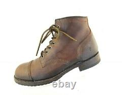 FRYE Mens Distressed Brown Leather LOGAN CAP TOE Boots Size 10.5D