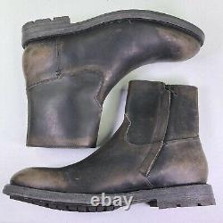 Frye Boots Bowery Inside Zip Leather Ankle Distressed Shoes $358