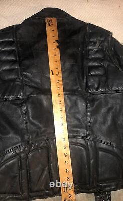 Genuine SCHOTT BROS. USA Distressed 100% LEATHER HEAVY BLACK MTRCL JACKET Sz46