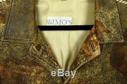 Gimo's Italy Exquisite Jacket In Distressed Lamb Suede 54 Eur Superb