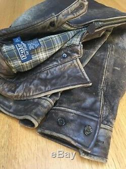 Gorgeous Vintage Ralph Lauren RRL Mens L 50in Distressed Leather Bomber Jacket
