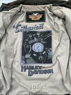 Harley Davidson BILLINGS Brown Leather Bomber Jacket Mens XL Distressed