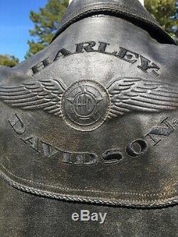 Harley Davidson BILLINGS Brown Leather Jacket Mens Medium Distressed
