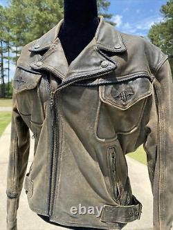 Harley Davidson BILLINGS Brown Leather Jacket Mens Small Distressed