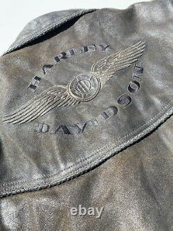 Harley Davidson BILLINGS Brown Leather Jacket Mens Small Distressed MINT