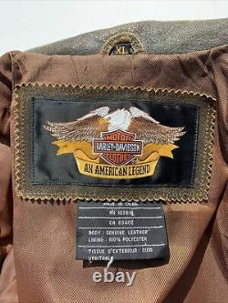 Harley Davidson BILLINGS Brown Leather Jacket Mens XL Distressed MINT