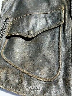 Harley Davidson BILLINGS Distressed Brown Leather Vest Men's Large Biker