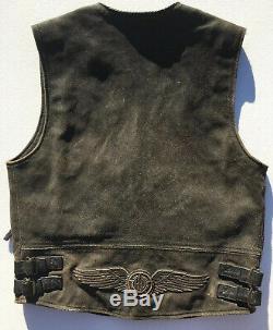Harley Davidson BILLINGS Distressed Brown Leather Vest Men's Medium Biker