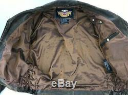 Harley Davidson Billings Distressed Leather Motorcycle Jacket Medium Brown