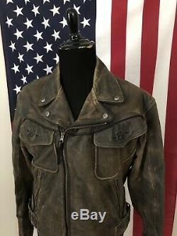 Harley Davidson Billings Leather Distressed Motorcycle Jacket men's LARGE 5c385