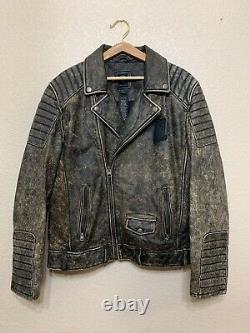 Harley Davidson Brown Leather Jacket Distressed #1 LOGO PATCH Buffalohide XL
