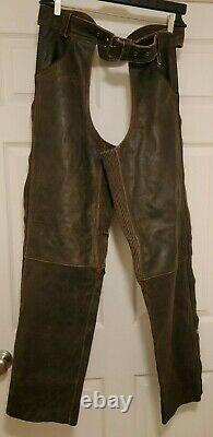 Harley Davidson Distressed Billings Brown Leather Chaps Mens XL New Rare Sturgis