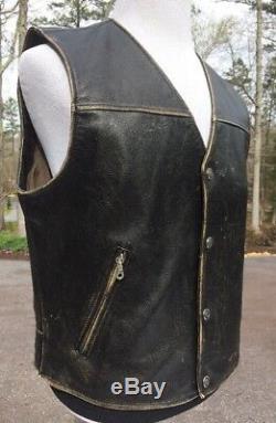 Harley Davidson Distressed Black Leather Vest Bronco Men's Large Brown