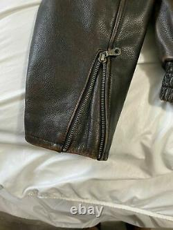 Harley Davidson Distressed Brown Billings HD Leather Riding Jacket Large