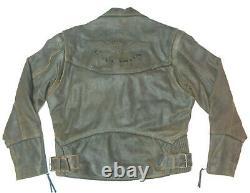 Harley Davidson Distressed Brown Leather Billings Jacket Coat Large Lg Nice 16