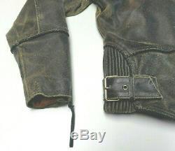Harley Davidson Distressed Brown Leather Billings Jacket Coat Medium Med 181
