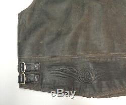 Harley Davidson Distressed Brown Leather Billings Mens Vest Mens Medium Med 204