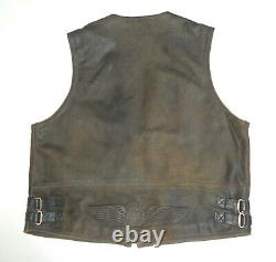Harley Davidson Distressed Brown Leather Billings Vest XXL 2xl More Hd Listed 19