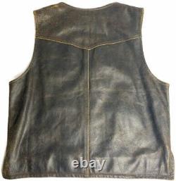 Harley Davidson Distressed Brown Leather Vest Rumble Billings Mens Large