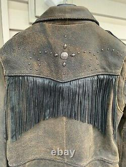 Harley Davidson Distressed Leather Billings Jacket Woman Large Nice