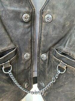 Harley Davidson Distressed Leather Panhead Vest Men Large Nice Rare