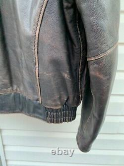 Harley Davidson Leather Jacket D Pocket Distressed Brown Bomber Men's Large