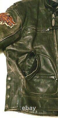 Harley Davidson Leather Jacket Distressed Brown Mens Sz. Large Vtg U. S Seller