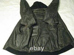 Harley Davidson Leather Jacket Hooded Factory Distressed Brown Bomber Men L Tall