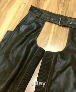 Harley Davidson MEN M Leather Chaps Factory Distressed Brown BILLINGS 98180-95VM