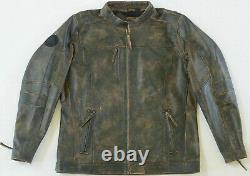 Harley Davidson Men Miramar Distressed Brown Leather Biker Jacket 3XL 97128-16VM