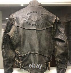 Harley Davidson Men's Billings Brown Leather Jacket Size S, Vintage
