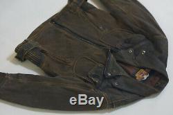 Harley Davidson Men's Billings Distressed Brown Leather Jacket Winged HD Logo M